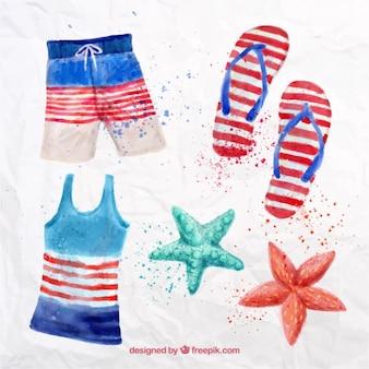 Swimsuit aguarela com elementos do verão
