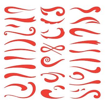 Swooshes de sublinhado. ênfase em pincel, traço de marcador desenhado à mão, destaque em desenho