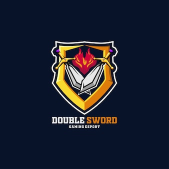 Sword fire e-sport logo duplo