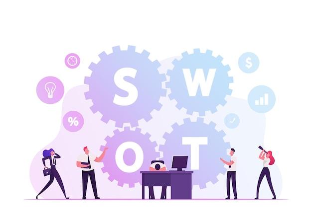 Swot, análise, pontos fortes, pontos fracos, oportunidades, conceito de ameaças. ilustração plana dos desenhos animados