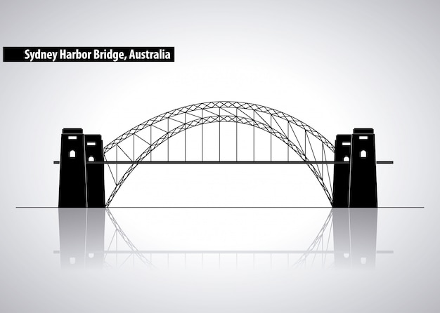Sydney harbour bridge na austrália, ilustração de silhueta