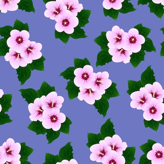 Syriacus do hibiscus - rosa de sharon no fundo roxo.