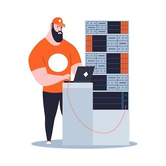 Sysadmin mantendo ou reparando o servidor. manutenção do trabalho, consertando e ajustando conexão de rede. trabalho de engenheiro técnico na manutenção do sistema