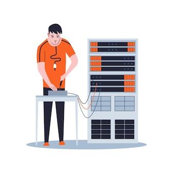 Sysadmin mantendo ou reparando o servidor. manutenção do trabalho, consertando e ajustando conexão de rede.