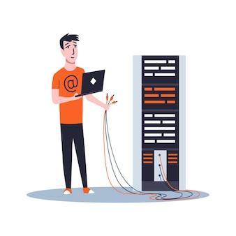 Sysadmin mantendo ou reparando o servidor