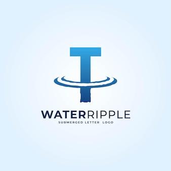 T azul gradiente letra água ondulação respingo onda logotipo dinâmico ilustração vetorial ícone