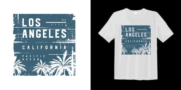 T gráfico de los angeles califórnia oceano pacífico com silhueta de árvore de palma