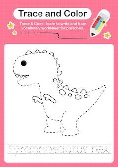 T palavra de rastreamento para dinossauros e planilha de rastreamento de cores com a palavra tyrannosaurus rex