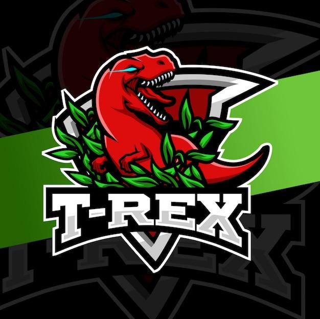 T rex mascote esport design de logotipo