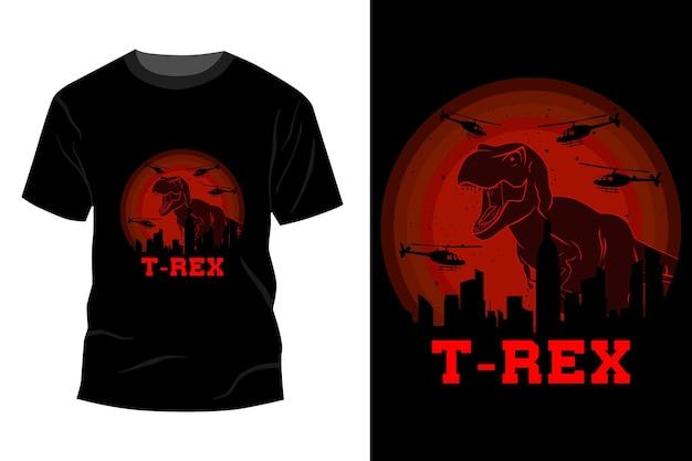 T-rex t-shirt maquete design vintage retro