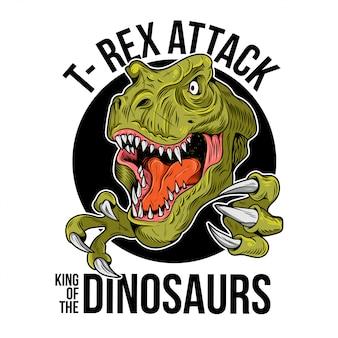 T-rex tyrannosaurus rex grande e perigosa cabeça de dinossauro dino. ilustração dos desenhos animados, desenho gravura arte de linha de tinta, design de impressão camiseta