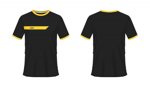 T-shirt amarelo e preto futebol ou ilustração de futebol