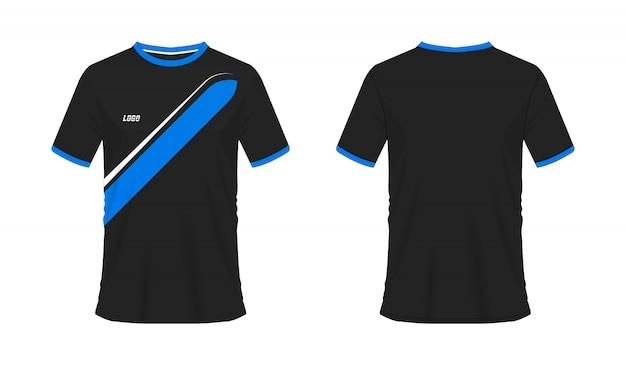 T-shirt azul e preto futebol ou futebol jersey esporte, ilustração