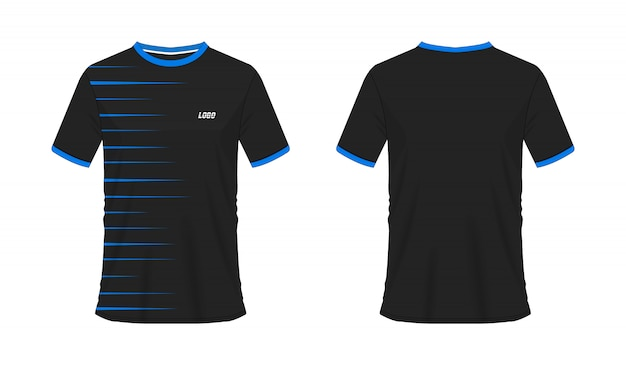 T-shirt azul e preto modelo de futebol ou futebol para clube de equipe em fundo branco. jersey sport