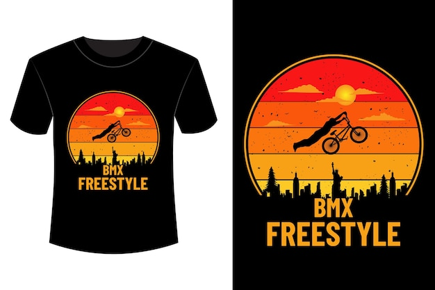 T-shirt bike freestyle design vintage retro