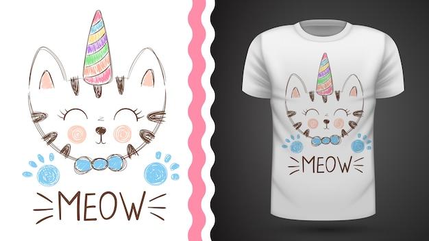 T-shirt bonito do gato