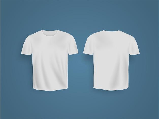 T-shirt branca realista com maquete de manga curta isolada no fundo azul.