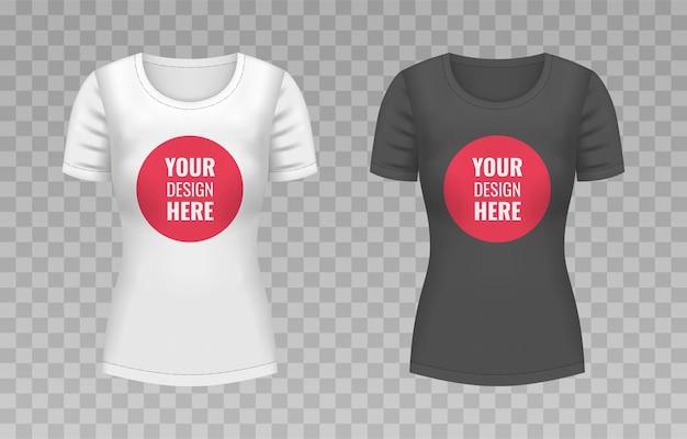 T-shirt branco e preto feminino realista isolado em fundo transparente. ilustração.