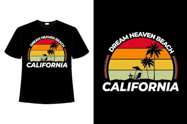 T-shirt california sonho céu praia retro estilo