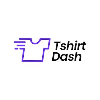 T-shirt camiseta traço lavanderia rápida limpeza rápida logotipo digital ilustração vetorial ícone