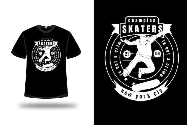 T-shirt campeão de patinadores não é crime nova york cor branca