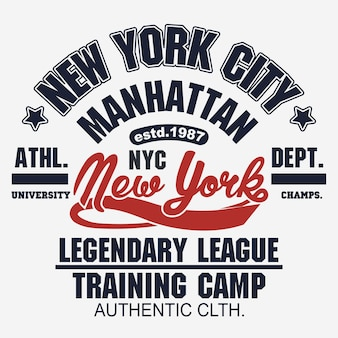 T-shirt carimbo gráfico, new york sport desgaste emblema tipografia manhattan vintage tee print, atlético vestuário design camisa impressão gráfica. vetor