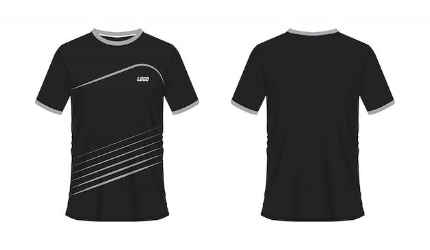 T-shirt cinza e preto futebol ou futebol modelo para clube de equipe em branco