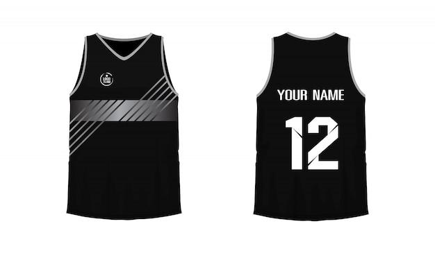 T-shirt cinza e preto modelo de basquete ou futebol para o clube de equipe em fundo branco. esporte de jersey,