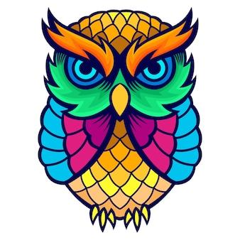 T-shirt colorido da criança da arte da coruja