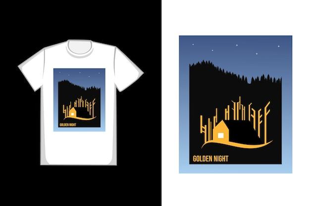 T-shirt com design de casa dourada em uma noite brilhante