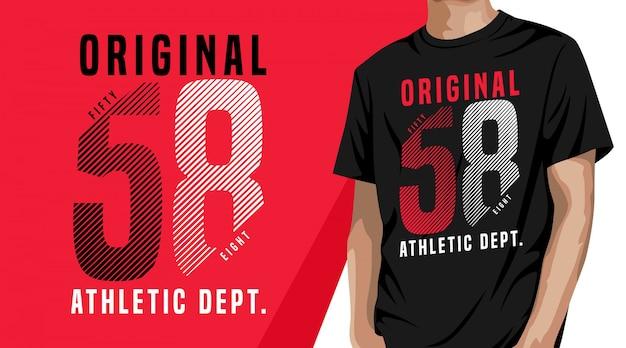 T-shirt com design de cinquenta e oito tipografia para impressão