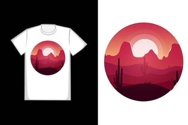 T-shirt com design deserto colorido laranja