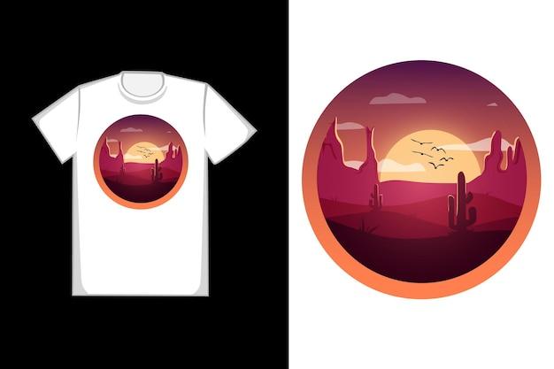 T-shirt com design deserto do saara à noite cor laranja e vermelho