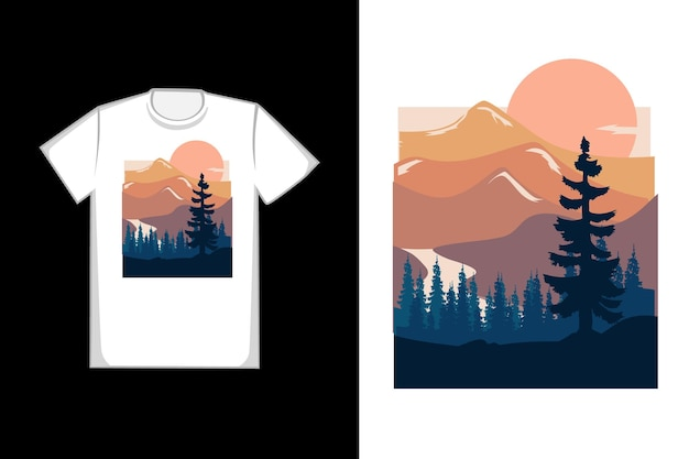 T-shirt com design montanha abstrato cor azul e laranja