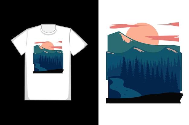 T-shirt com design montanha cor azul verde e laranja