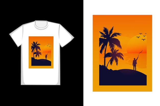 T-shirt com design pôr do sol na praia