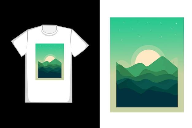 T-shirt com design verde nas montanhas em tons de verde brilhante e amarelo