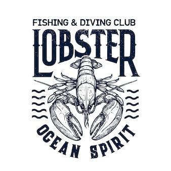 T-shirt com estampa de clube de mergulho com lagosta