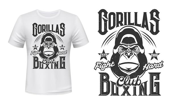 T-shirt com estampa de gorila desenho de ilustração do emblema do clube da luta de boxe