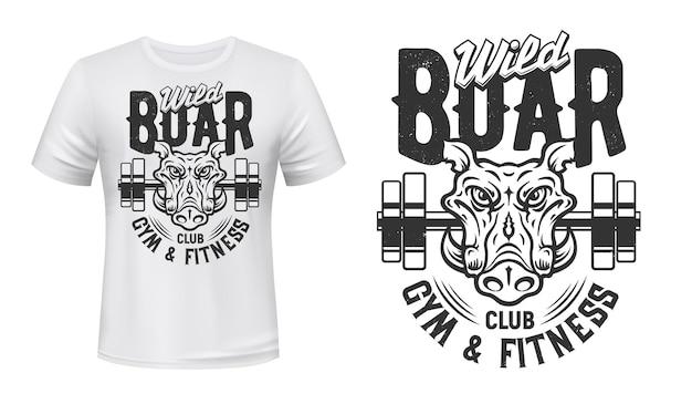 T-shirt com estampa de javali ginásio fitness clube desportivo