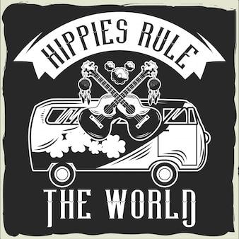 T-shirt com ilustração da van e guitarras isoladas em preto.