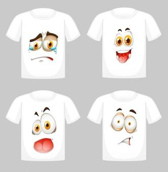 T-shirt com rostos na frente