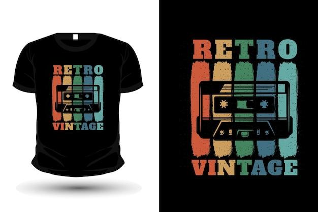 T-shirt com silhueta de mercadoria vintage retrô com fita cassete