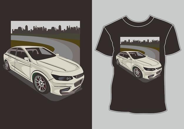 T-shirt com tema de carro, carros modelo de corrida esportiva na periferia da cidade