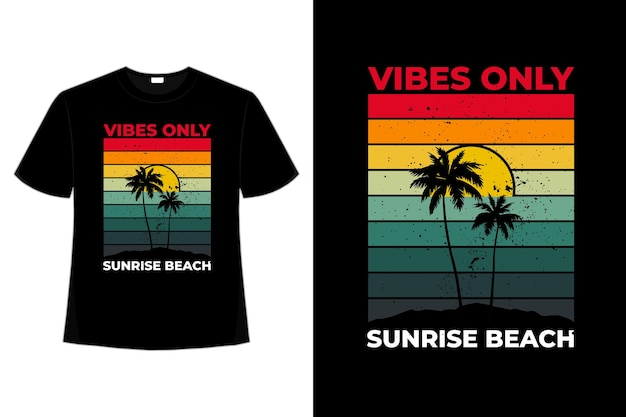 T-shirt com vibrações apenas nascer do sol praia retro