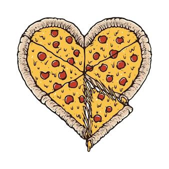 T-shirt da ilustração do amante da comida da pizza