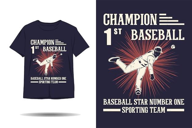 T-shirt da silhueta da estrela do beisebol número um da equipe esportiva campeã de beisebol