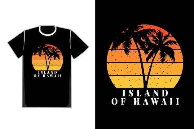 T-shirt da silhueta da praia com coqueiro ilha do havaí