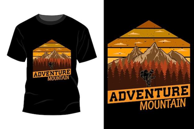 T-shirt de aventura de montanha com design vintage retro