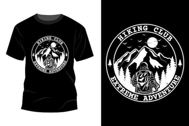 T-shirt de aventura extrema do clube de caminhada maquete de design vintage retro